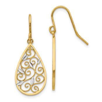14K White Rhodium Diamond-cut Filigree Teardrop Wire Earrings