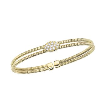 Yellow Gold 2 Row Twisted Bangle with Diamond Station