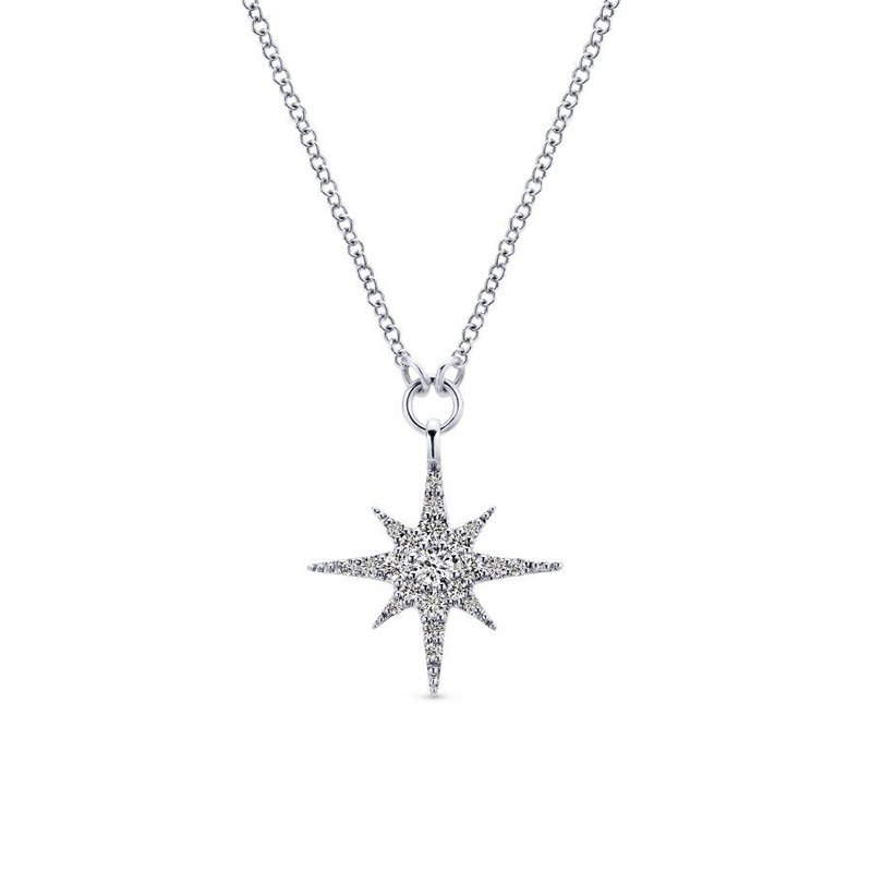 Amavida 14K White Gold Diamond Starburst Pendant Necklace