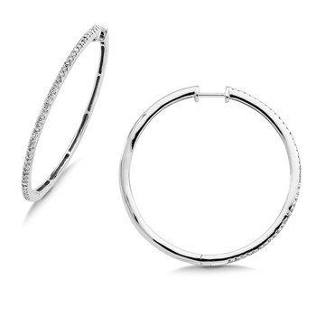 Pave set Slim Diamond Hoops in 14k White Gold (3/4 ct. tw.) JK/I1