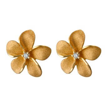Yellow Gold Plumeria Post Earrings