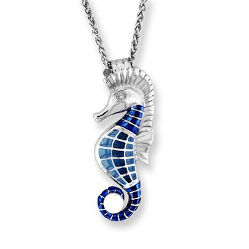 Blue Seahorse Necklace.Sterling Silver-White Sapphire and Freshwater Pearl - Plique-a-Jour
