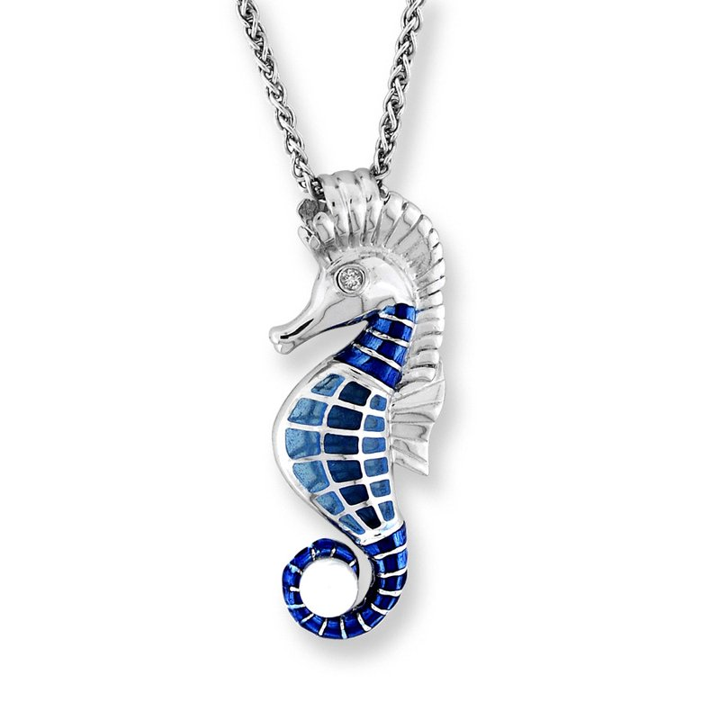 Nicole Barr Designs Blue Seahorse Necklace.Sterling Silver-White Sapphire and Freshwater Pearl - Plique-a-Jour