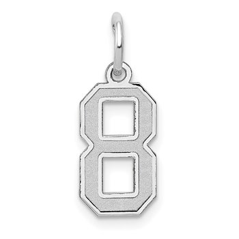 14k White Gold Small Satin Number 8 Charm