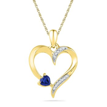 10kt Yellow Gold Womens Round Lab-Created Blue Sapphire Heart Love Pendant 1/20 Cttw