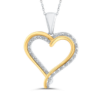 Essentials 10K Two Tone Gold 1/10 ct White Diamond Heart Pendant with Chain