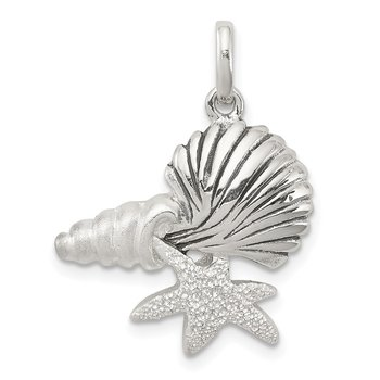 Sterling Silver Polished Antiqued/Laser Cut/Satin Seashells Pendant