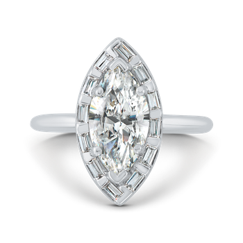 18K White Gold Marquise Cut Diamond Engagement Ring with Round Shank (Semi-Mount)