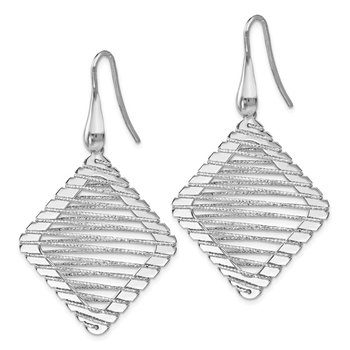 Leslie's Sterling Silver Rhodium-plated Shepherd Hook Earrings