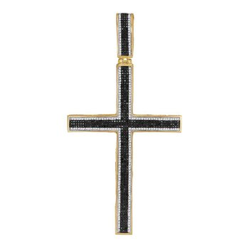 10kt Yellow Gold Mens Round Black Color Enhanced Diamond Roman Cross Charm Pendant 1-7/8 Cttw