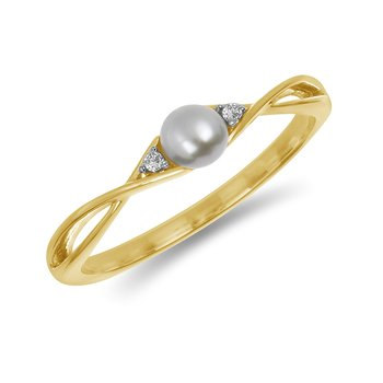 10K YG and diamond and Round Pearl infinity style birthstone ring
