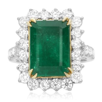 Large Emerald & Diamond Ring