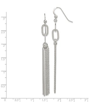 Sterling Silver Textured Oval Multi-Strand Dangle Hook Earrings