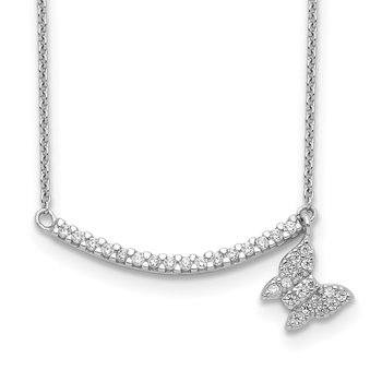 Sterling Silver CZ Bar w/Butterfly Dangle Necklace