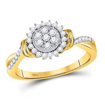 10kt Yellow Gold Womens Round Diamond Circle Flower Cluster Ring 1/3 Cttw