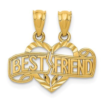 14k Diamond-cut Break Apart BEST FRIEND Heart Pendant