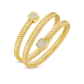18Kt Gold Flexible Triple Wrap Bangle With Diamonds