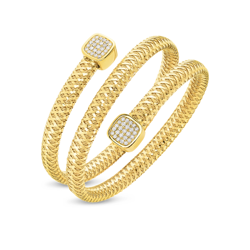 Roberto Coin 18Kt Gold Flexible Triple Wrap Bangle With Diamonds