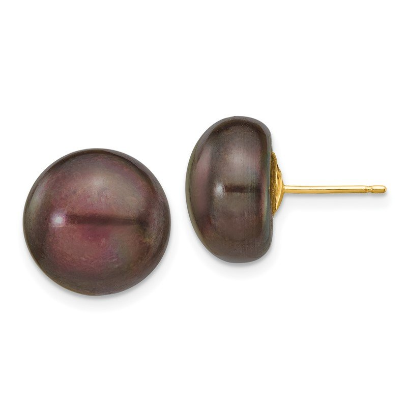 Quality Gold 14k 12-13mm Black Button FW Cultured Pearl Stud Post Earrings