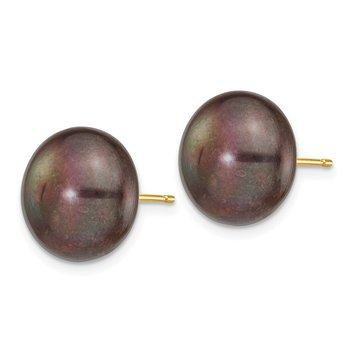 14k 12-13mm Black Button FW Cultured Pearl Stud Post Earrings