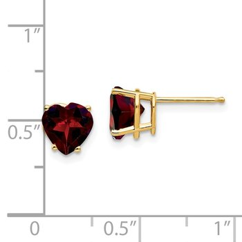 14k 7mm Heart Garnet Earrings