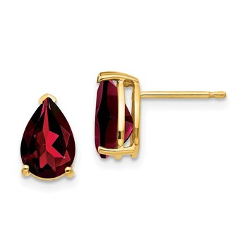 14k 9x6mm Pear Garnet Earrings