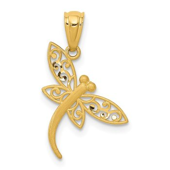 14k Satin Diamond-cut Dragonfly Pendant