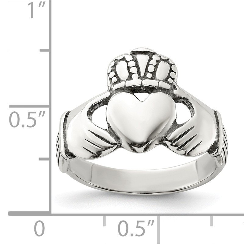 Quality Gold Sterling Silver Antiqued Claddagh Ring