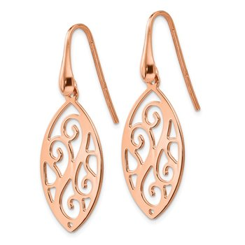 Leslie's Sterling Silver Rose Gold-plated Polished Dangle Earrings