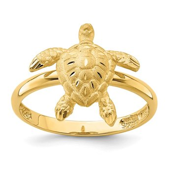 14K Brushed & Polished D/C Turtle Ring