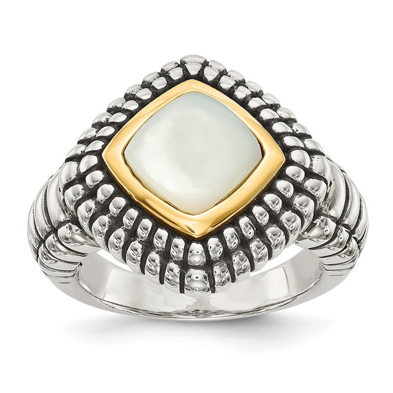 Quality Gold Sterling Silver w/14k Mother of Pearl Ring