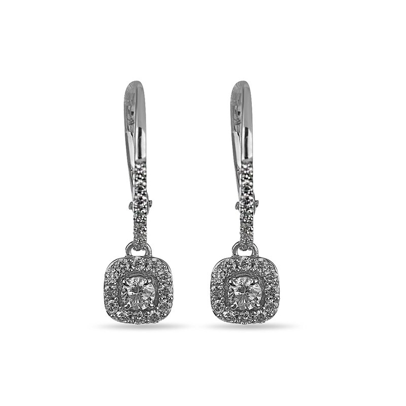 BB Impex 14K WG Diamond Square Halo Forever Center of My Universe French Back Dangling Earring RBL Center 1/8 cts.