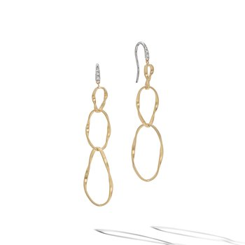 Marrakech Onde Yellow Gold and Diamond Triple Drop Hook Earring