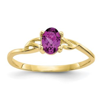 10k Polished Geniune Rhodolite Garnet Birthstone Ring