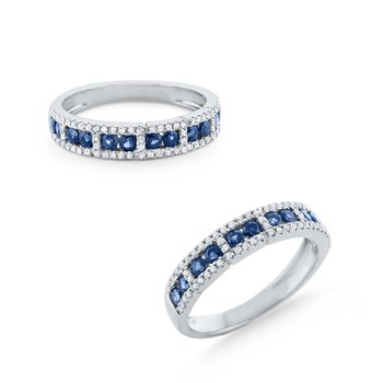 Blue Sapphire & Diamond Band Set in 14 Kt. Gold