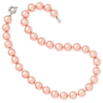 Sterling S Majestik Rh-pl 12-13mm Pink Imitat Shell Pearl Hand Knotted Neck