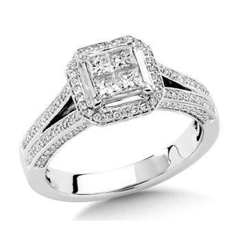 Invisible set Princess and Round cut Diamond Engagment ring in 14k White Gold (1ct. tw.)