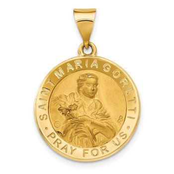 14K Polished / Satin St. Maria Goretti Hollow Medal Pendant
