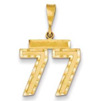 14k Medium Diamond-cut Number 77 Charm