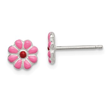 Sterling Silver Madi K Enamel Flower Post Earrings