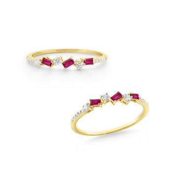 Ruby & Diamond Stack Ring Set in 14 Kt. Gold