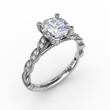 Classic Diamond Solitaire Engagement Ring With Diamond Twist Band