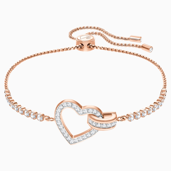 Lovely Bracelet, White, Rose-gold tone plated