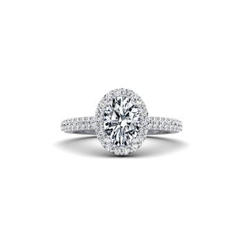 Oval Shaped Diamond Halo Design Engagement Ring