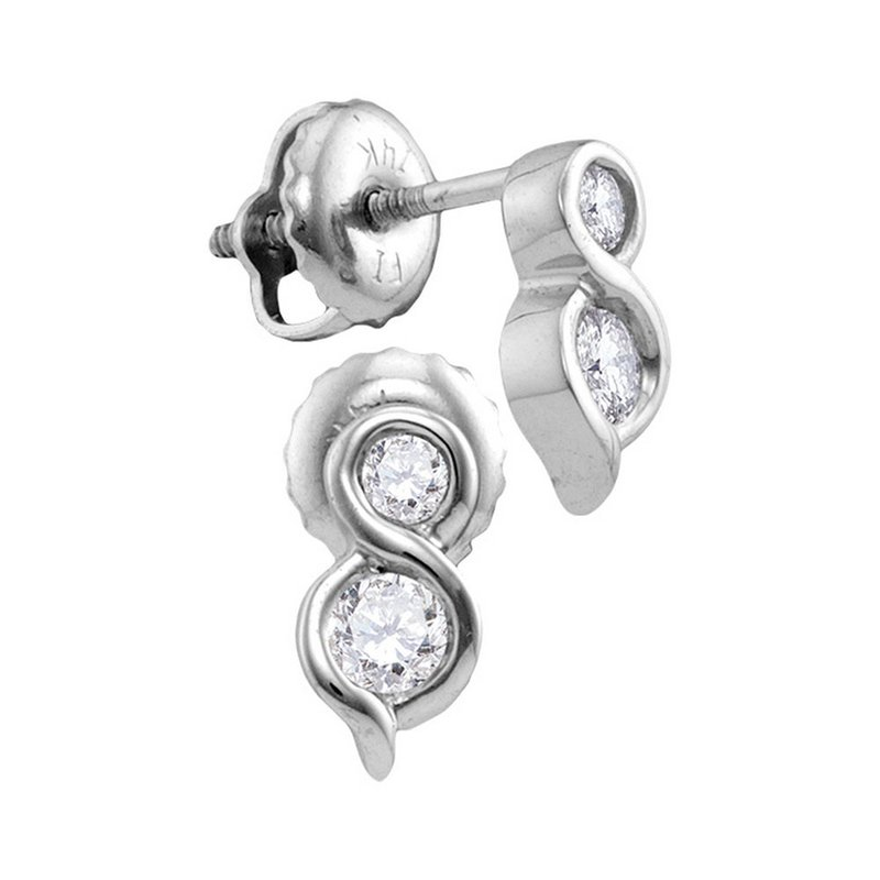 Gold-N-Diamonds 14kt White Gold Womens Round Diamond 2-stone Hearts Together Stud Earrings 1/4 Cttw