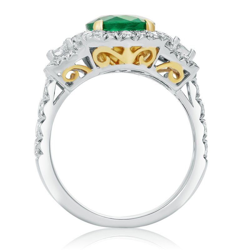 Roman & Jules Oval Emerald & Diamond Side Stone Ring