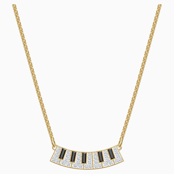 Pleasant Piano Necklace, Multi-colored, Gold-tone plated