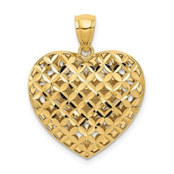14K Two-tone Polished Reversible Diamond-cut Filigree Heart Pendant
