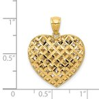 Quality Gold 14K Two-tone Polished Reversible Diamond-cut Filigree Heart Pendant