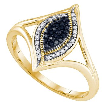 10kt Yellow Gold Womens Round Black Color Enhanced Diamond Cluster Ring 1/10 Cttw